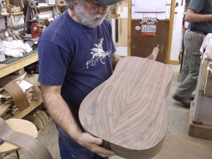 wayne henderson 2015 inspects walnut back