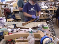wayne henderson 2015 staining neck at shop bench