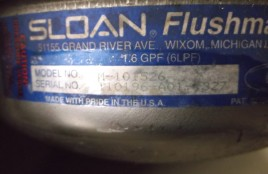 sloan flushmate old style serial number plate