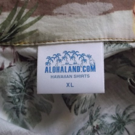 alohaland shirt label front